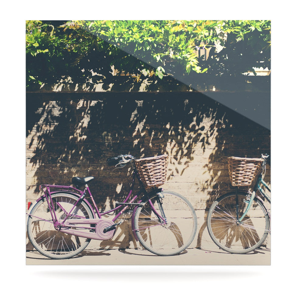 "Laura Evans ""Pretty Bicycles"" Brown Green Luxe Square Panel - KESS InHouse  - 1"