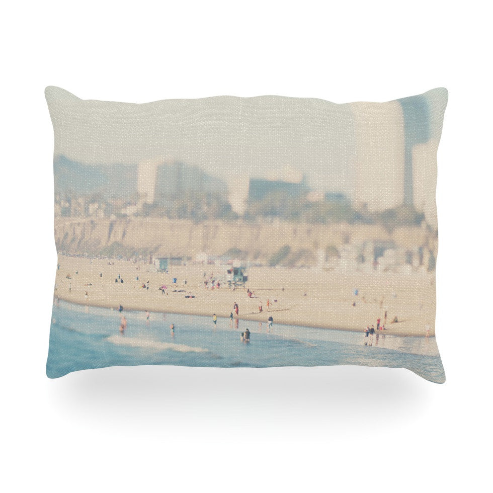 "Laura Evans ""Santa Monica Beach"" Brown Blue Oblong Pillow - KESS InHouse"