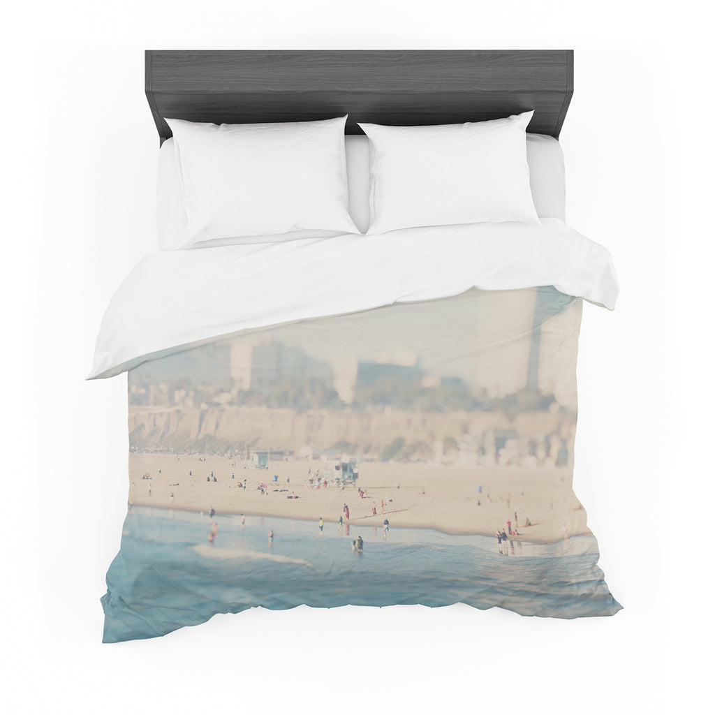"Laura Evans ""Santa Monica Beach"" Brown Blue Featherweight Duvet Cover"
