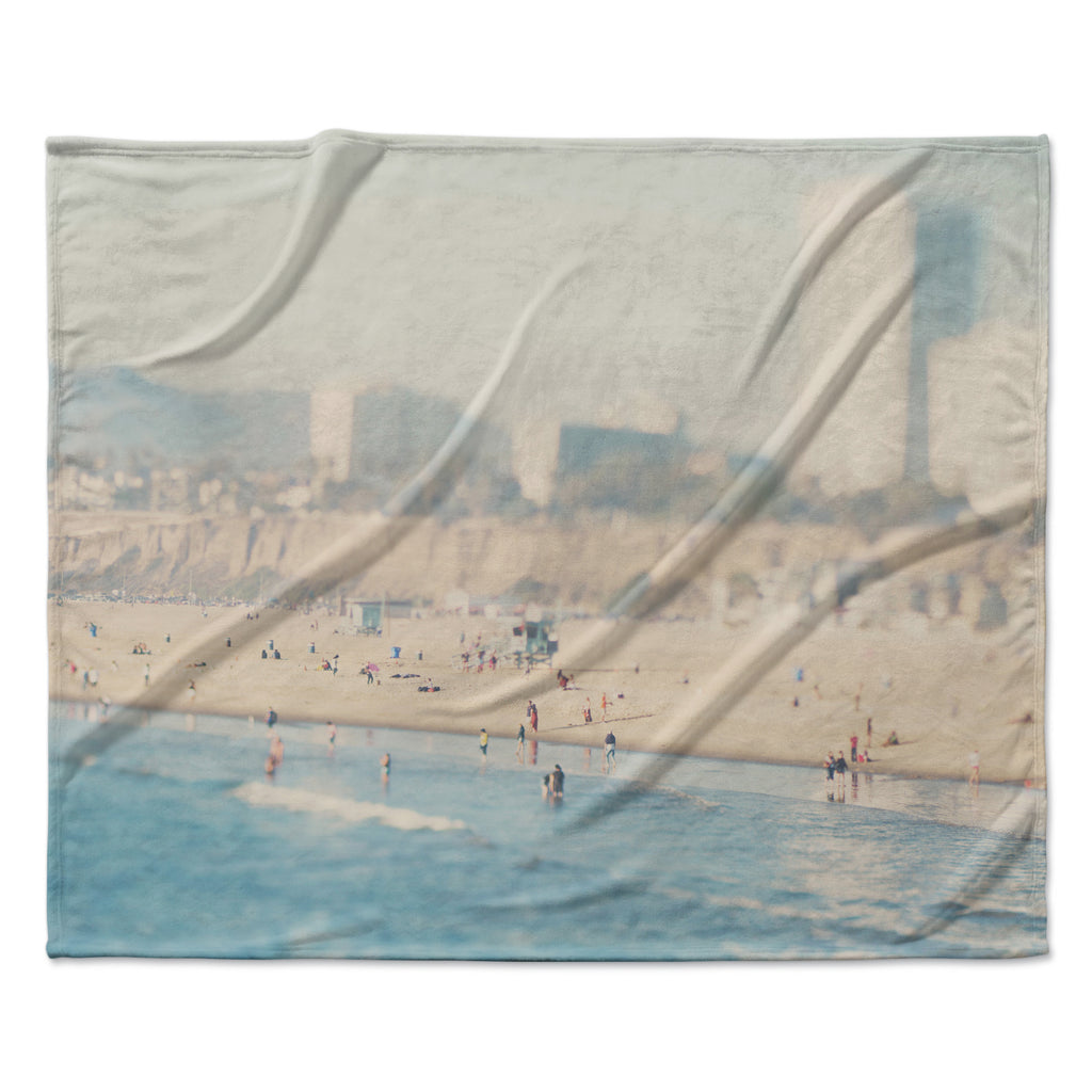 "Laura Evans ""Santa Monica Beach"" Brown Blue Fleece Throw Blanket"