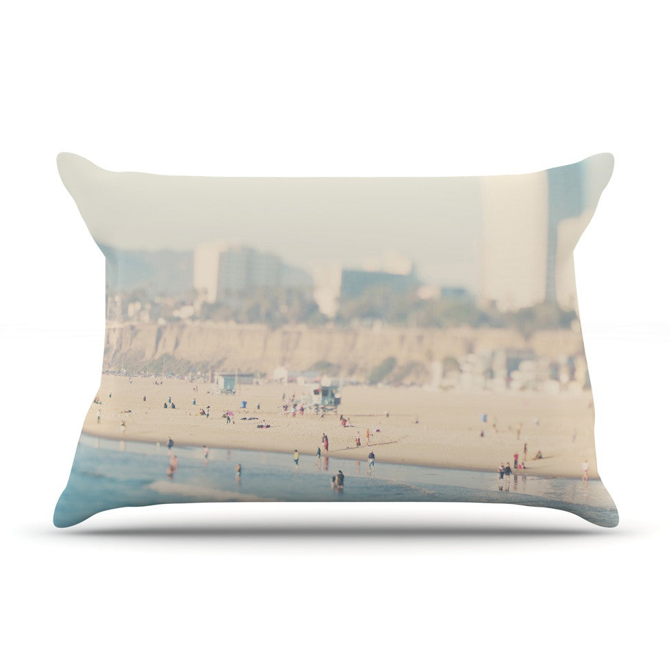 "Laura Evans ""Santa Monica Beach"" Brown Blue Pillow Sham - KESS InHouse"