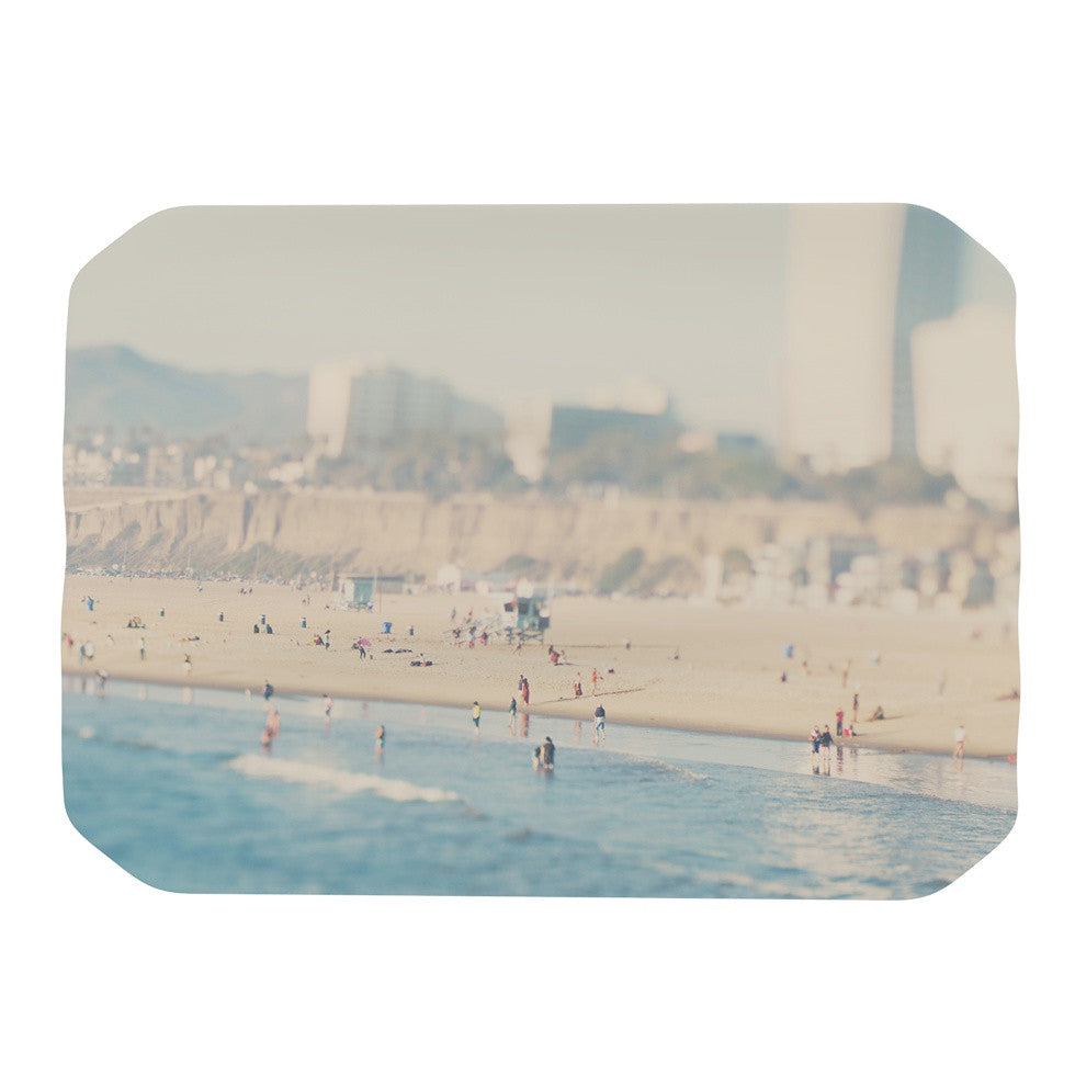 "Laura Evans ""Santa Monica Beach"" Brown Blue Place Mat - KESS InHouse"