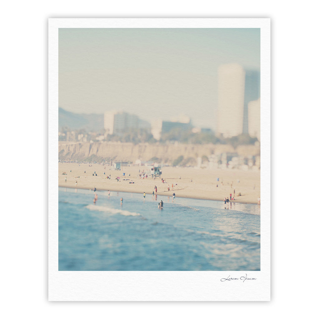 "Laura Evans ""Santa Monica Beach"" Brown Blue Fine Art Gallery Print - KESS InHouse"