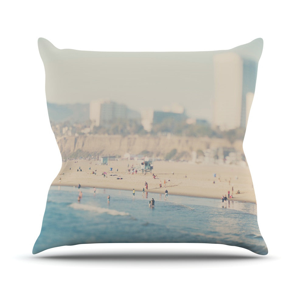 "Laura Evans ""Santa Monica Beach"" Brown Blue Throw Pillow - KESS InHouse  - 1"