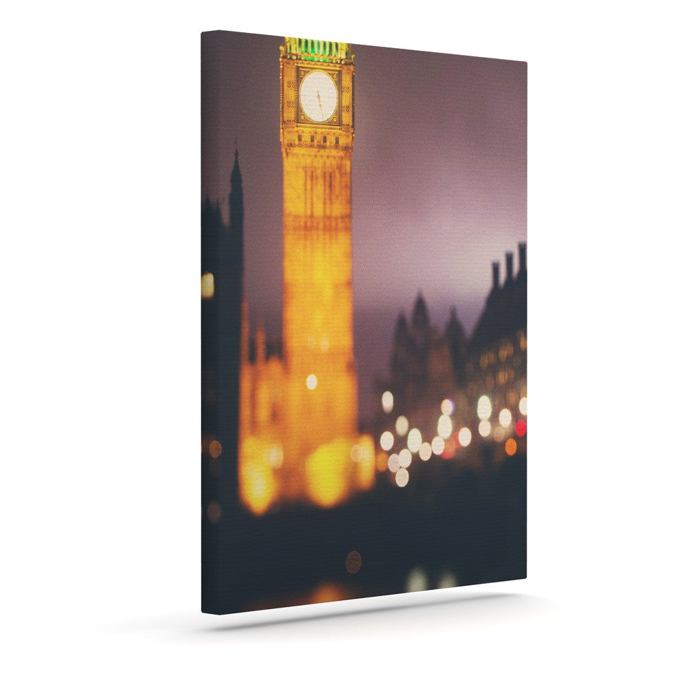 "Laura Evans ""Westminster at Night"" Yellow Multicolor Canvas Art - KESS InHouse  - 1"