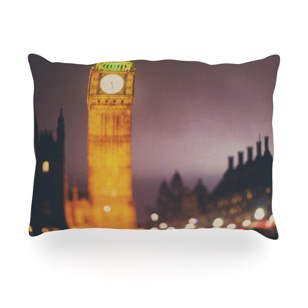 "Laura Evans ""Westminster at Night"" Yellow Multicolor Oblong Pillow - KESS InHouse"