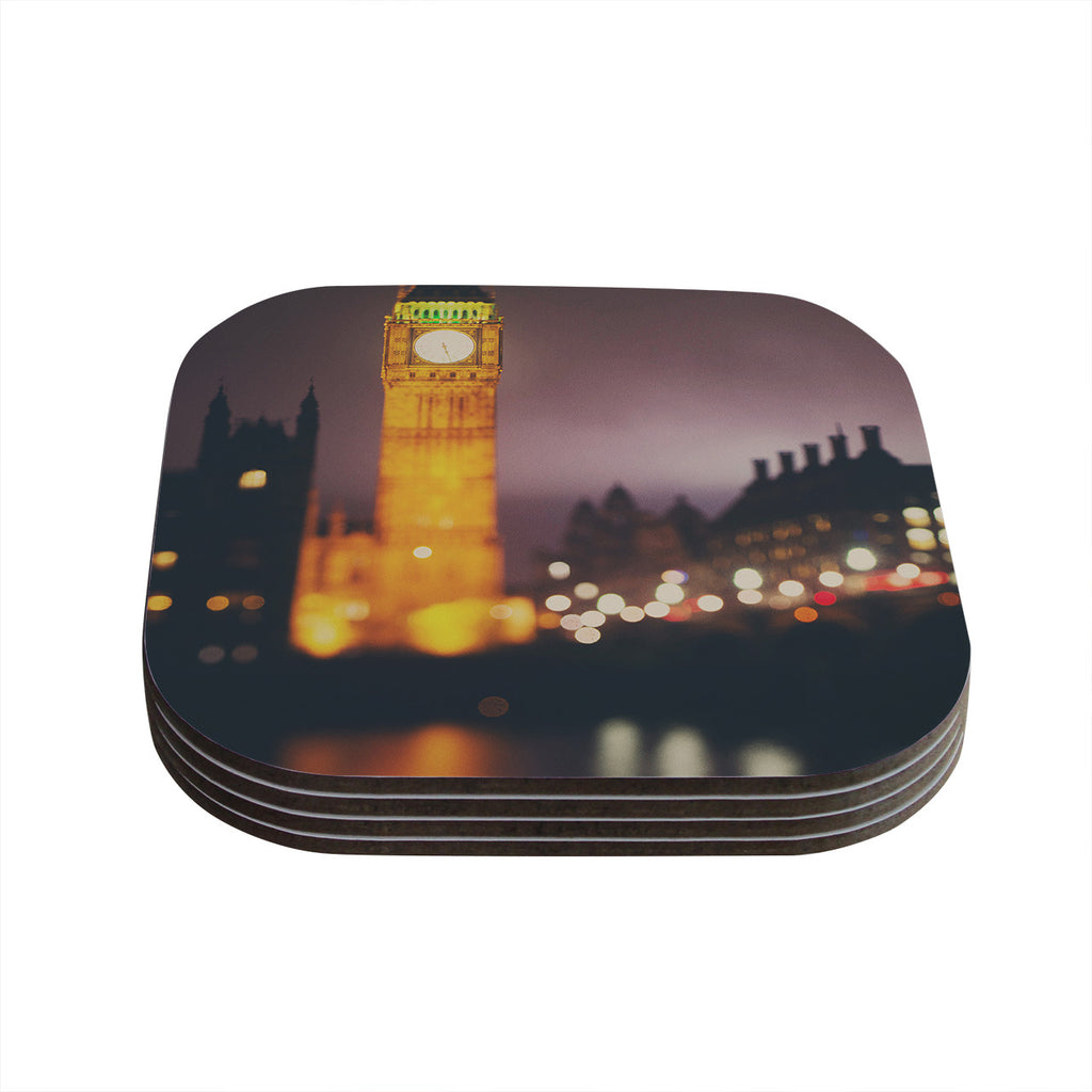 "Laura Evans ""Westminster at Night"" Yellow Multicolor Coasters (Set of 4)"