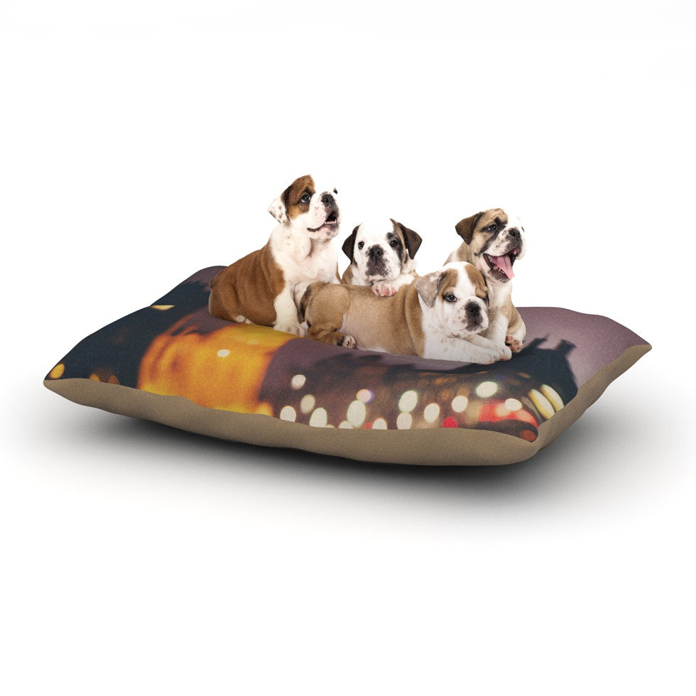 "Laura Evans ""Westminster at Night"" Yellow Multicolor Dog Bed - KESS InHouse  - 1"