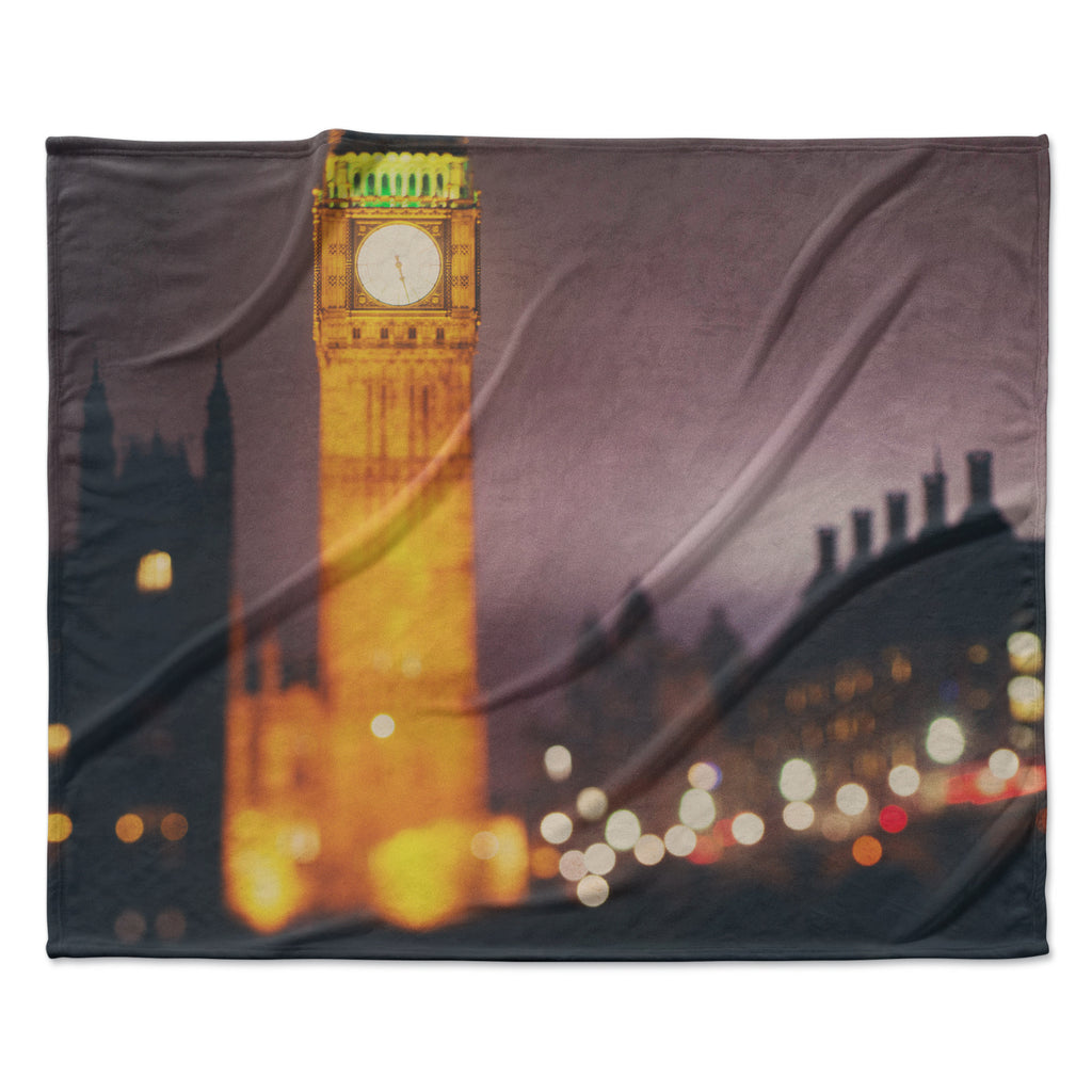"Laura Evans ""Westminster at Night"" Yellow Multicolor Fleece Throw Blanket"