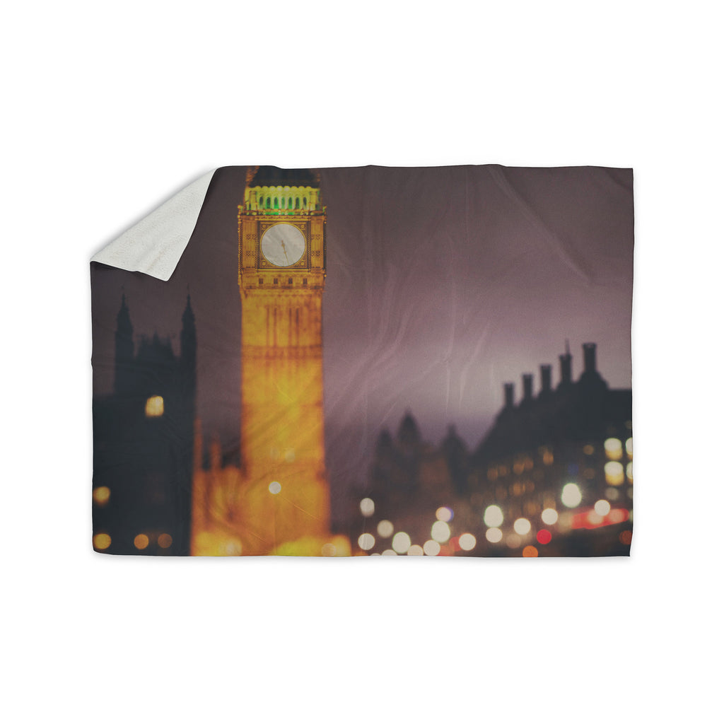 "Laura Evans ""Westminster at Night"" Yellow Multicolor Sherpa Blanket - KESS InHouse  - 1"