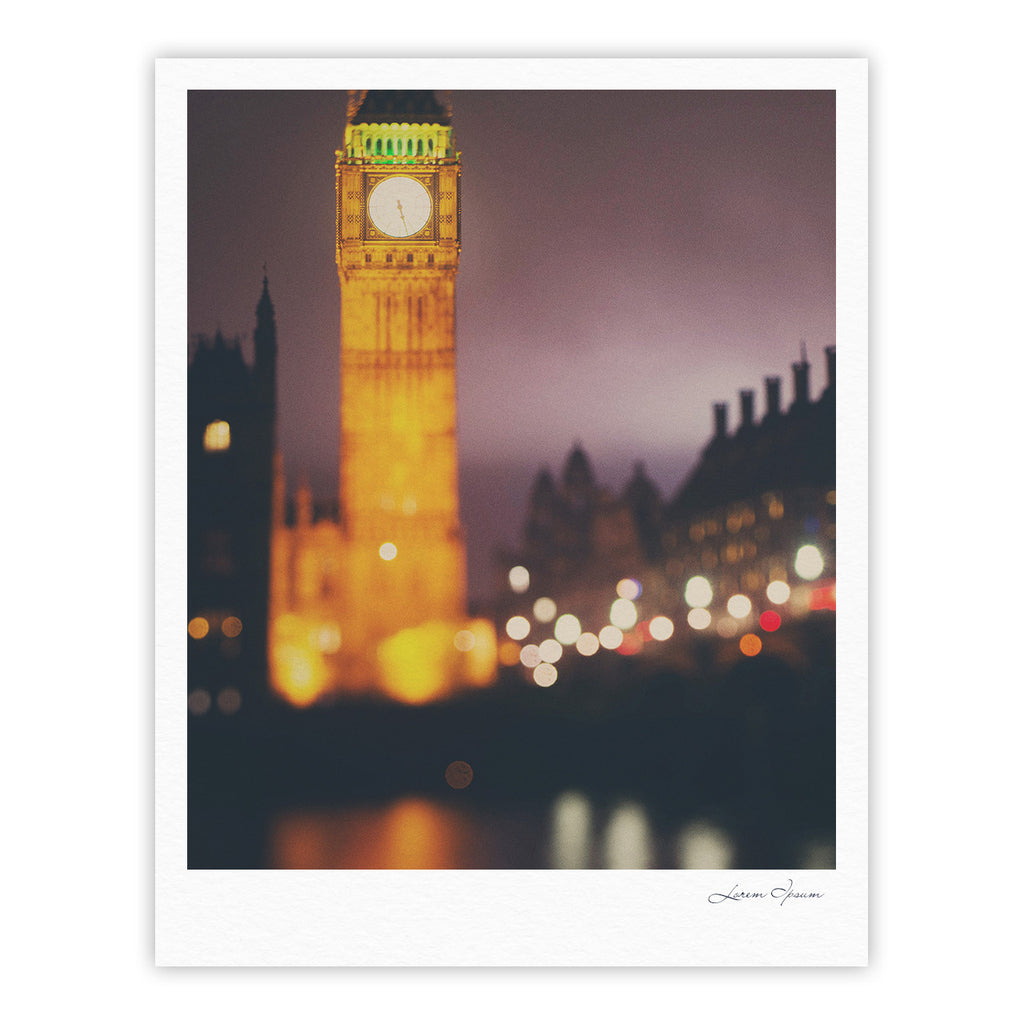 "Laura Evans ""Westminster at Night"" Yellow Multicolor Fine Art Gallery Print - KESS InHouse"