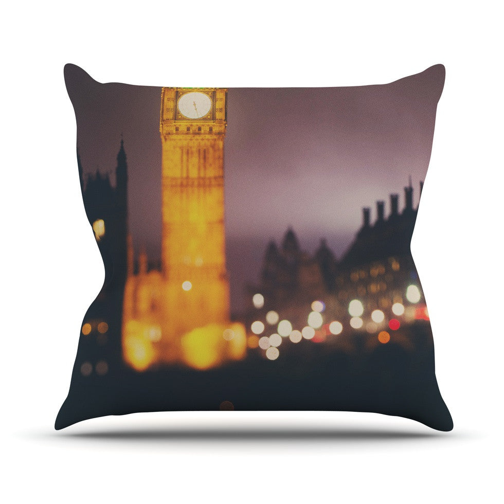 "Laura Evans ""Westminster at Night"" Yellow Multicolor Outdoor Throw Pillow - KESS InHouse  - 1"