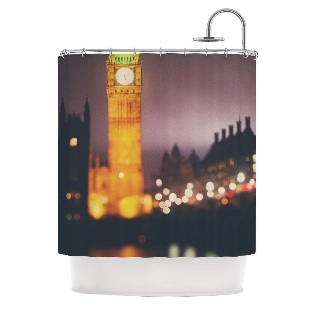 "Laura Evans ""Westminster at Night"" Yellow Multicolor Shower Curtain - KESS InHouse"