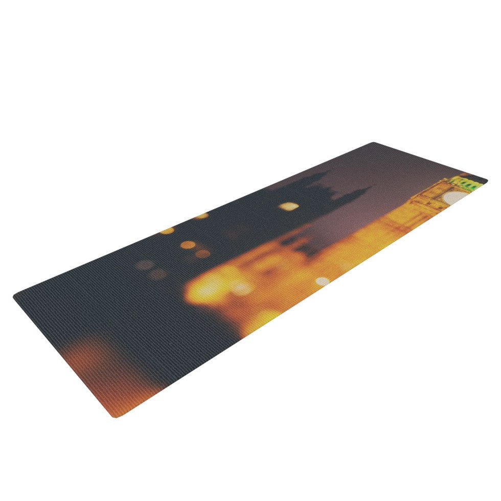 "Laura Evans ""Westminster at Night"" Yellow Multicolor Yoga Mat - KESS InHouse  - 1"