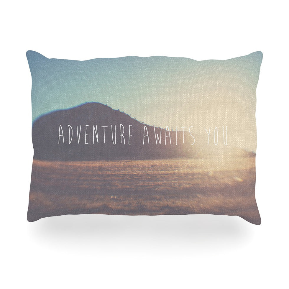 "Laura Evans ""Adventure Awaits You"" Coastal Typography Oblong Pillow - KESS InHouse"