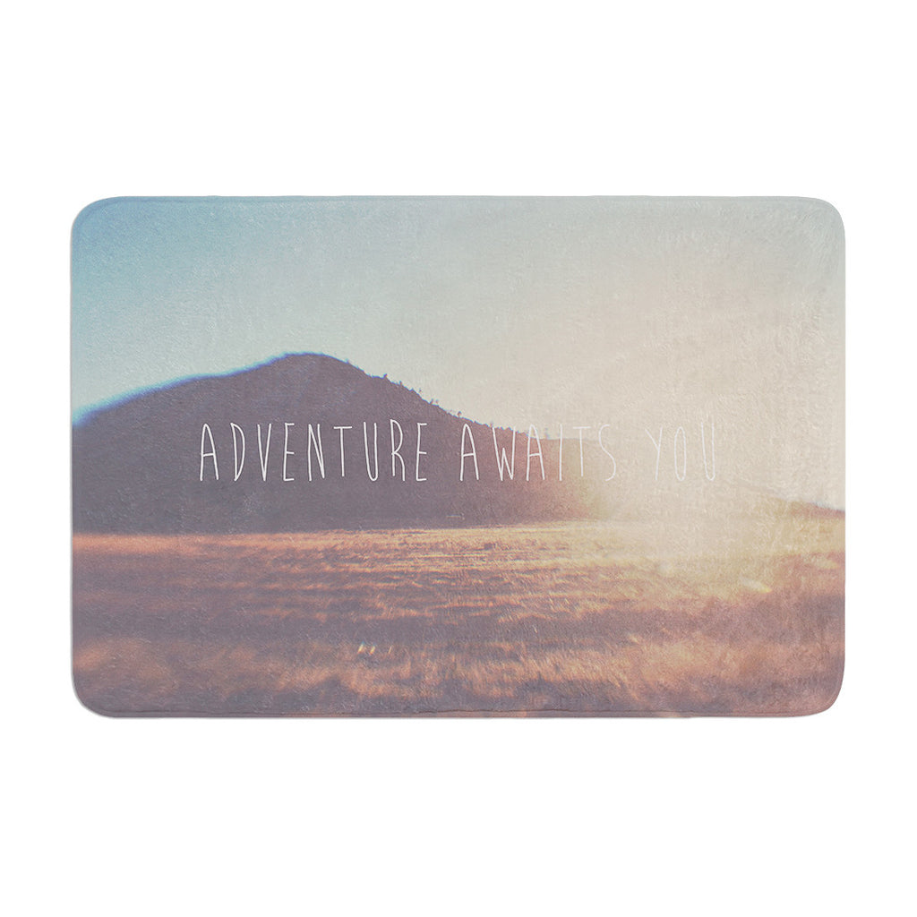 "Laura Evans ""Adventure Awaits You"" Coastal Typography Memory Foam Bath Mat - KESS InHouse"