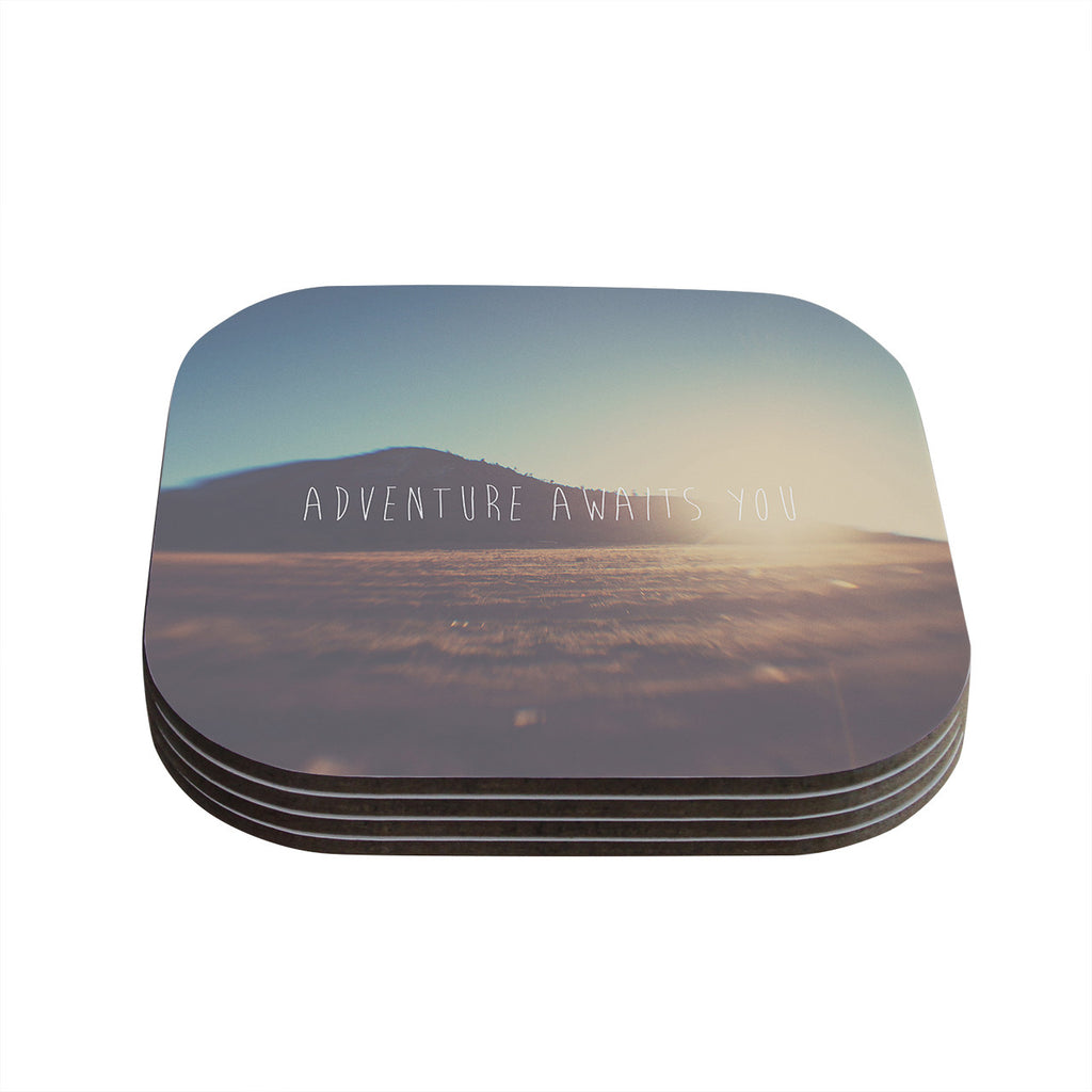 "Laura Evans ""Adventure Awaits You"" Coastal Typography Coasters (Set of 4)"