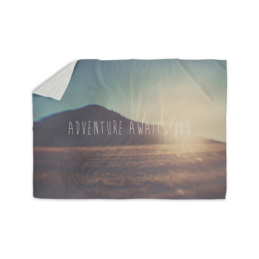 "Laura Evans ""Adventure Awaits You"" Coastal Typography Sherpa Blanket - KESS InHouse  - 1"