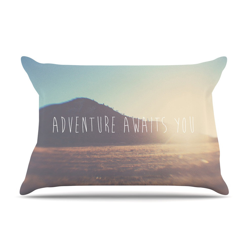 "Laura Evans ""Adventure Awaits You"" Coastal Typography Pillow Sham - KESS InHouse"