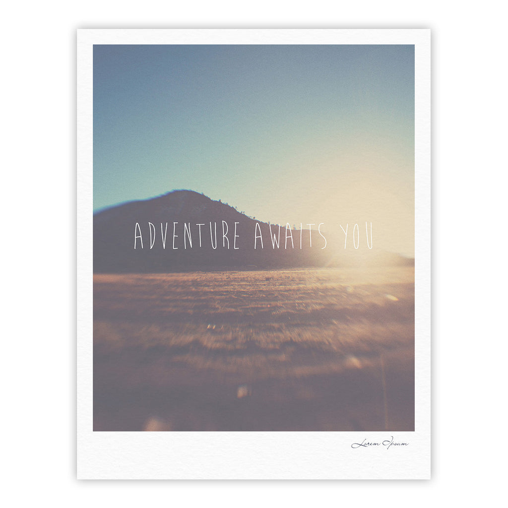 "Laura Evans ""Adventure Awaits You"" Coastal Typography Fine Art Gallery Print - KESS InHouse"