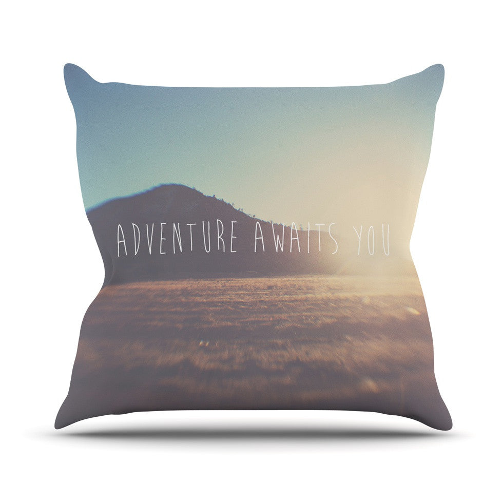 "Laura Evans ""Adventure Awaits You"" Coastal Typography Outdoor Throw Pillow - KESS InHouse  - 1"