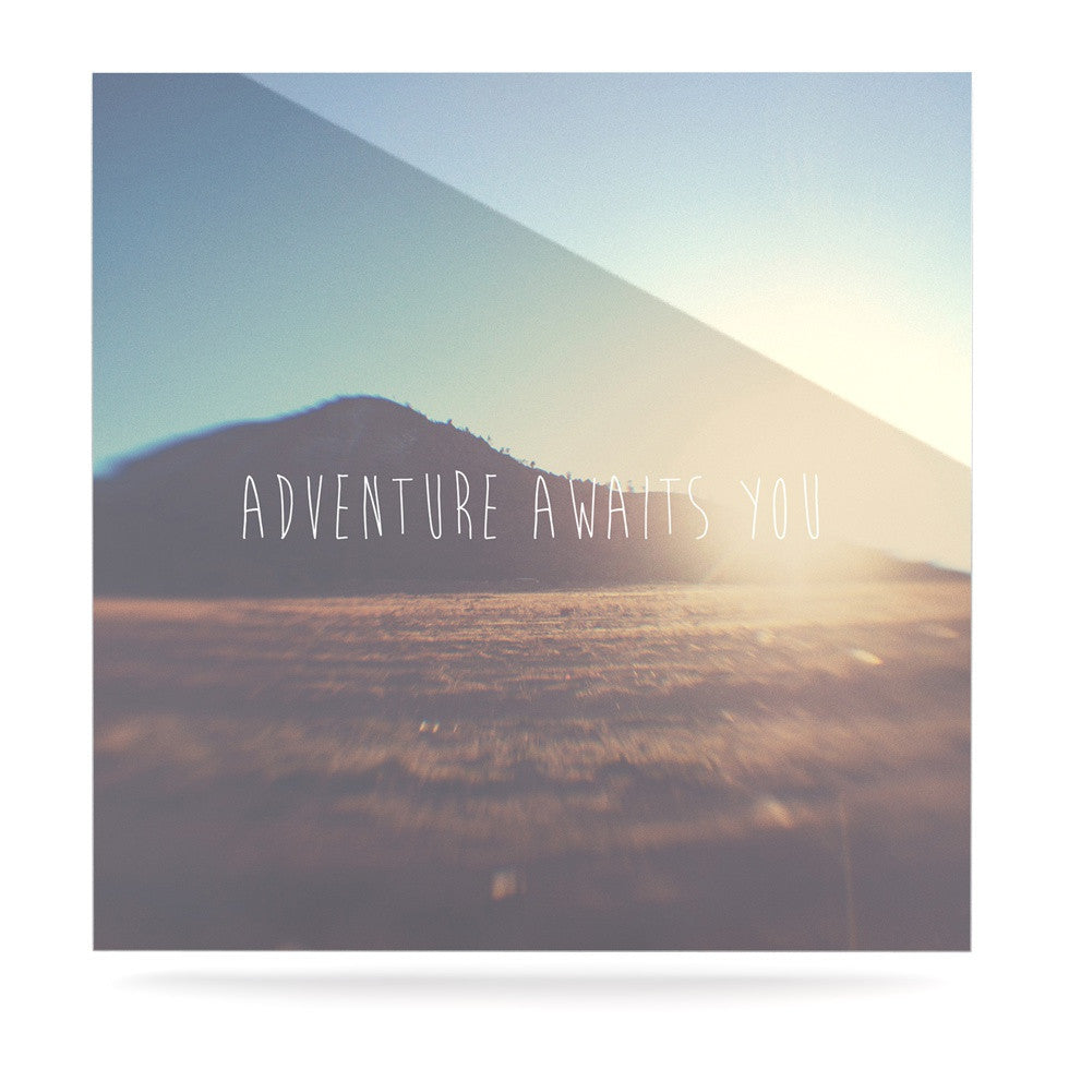 "Laura Evans ""Adventure Awaits You"" Coastal Typography Luxe Square Panel - KESS InHouse  - 1"