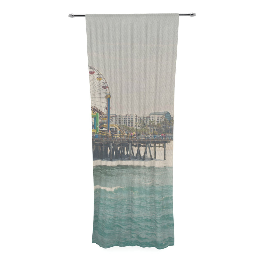 "Laura Evans ""The Pier at Santa Monica"" Coastal Teal Decorative Sheer Curtain - KESS InHouse  - 1"