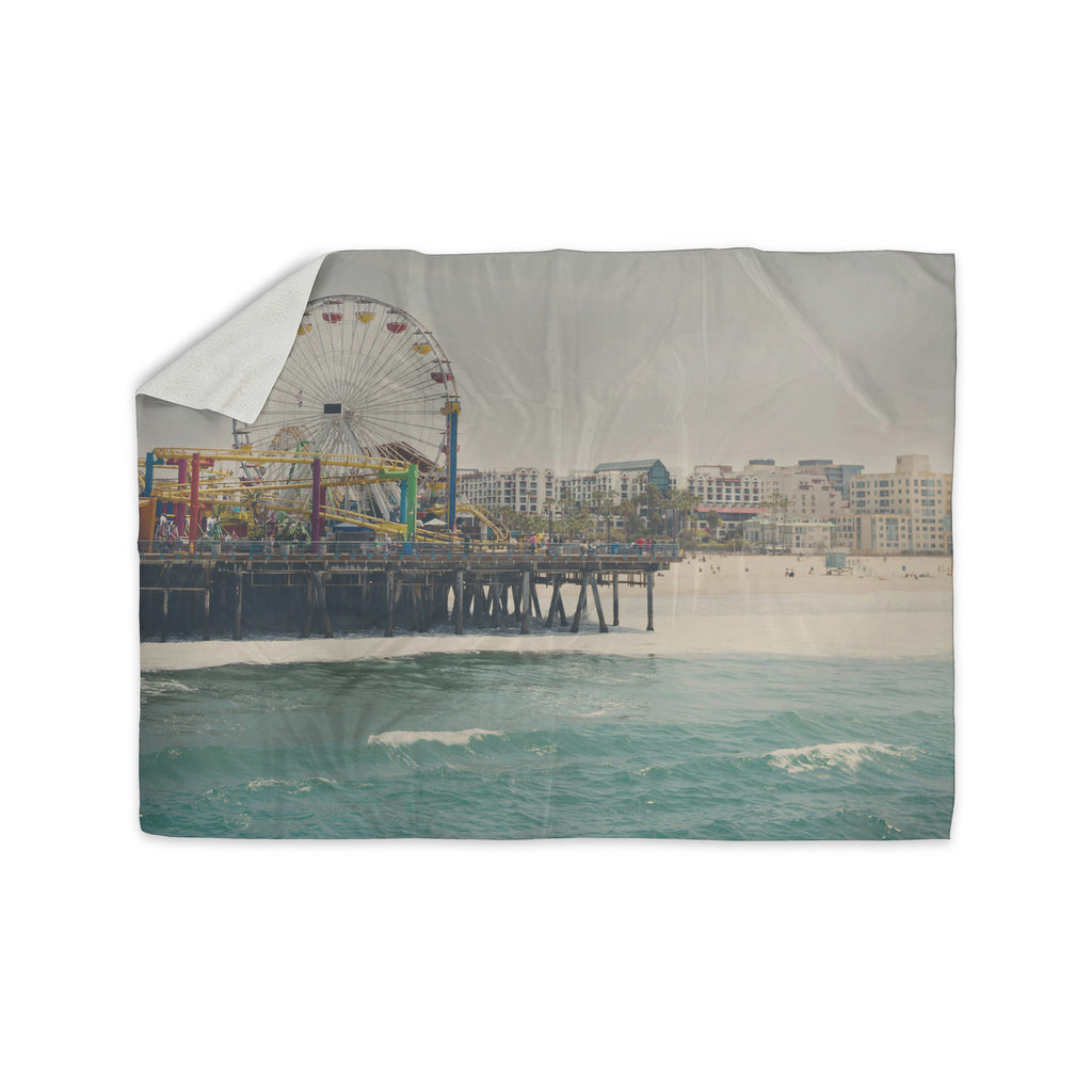 "Laura Evans ""The Pier at Santa Monica"" Coastal Teal Sherpa Blanket - KESS InHouse  - 1"