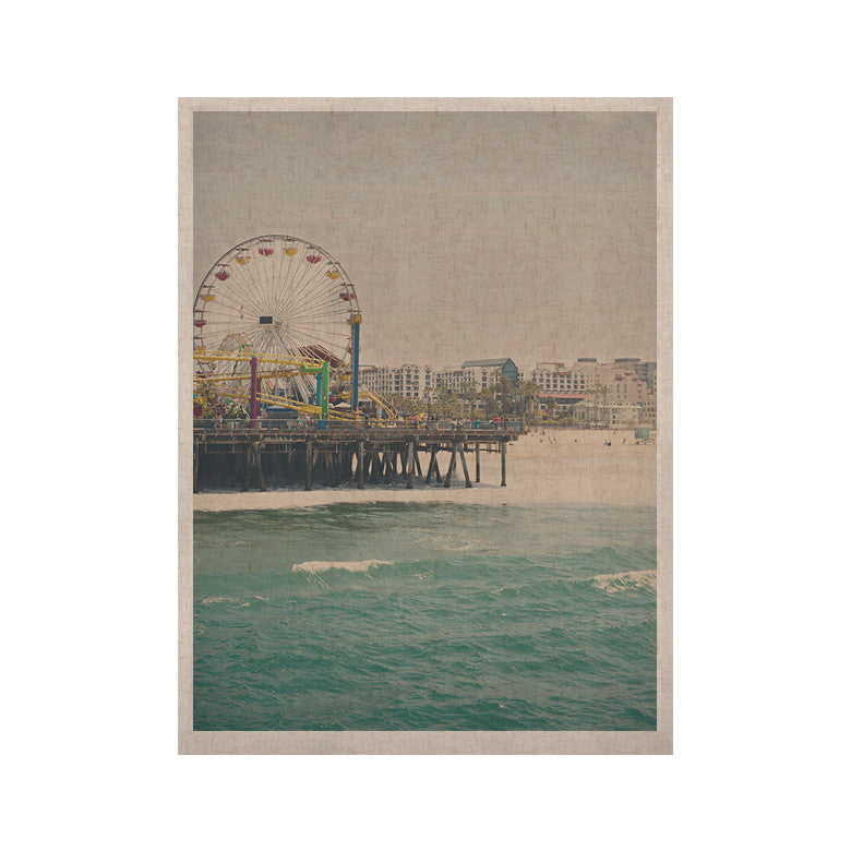 "Laura Evans ""The Pier at Santa Monica"" Coastal Teal KESS Naturals Canvas (Frame not Included) - KESS InHouse  - 1"