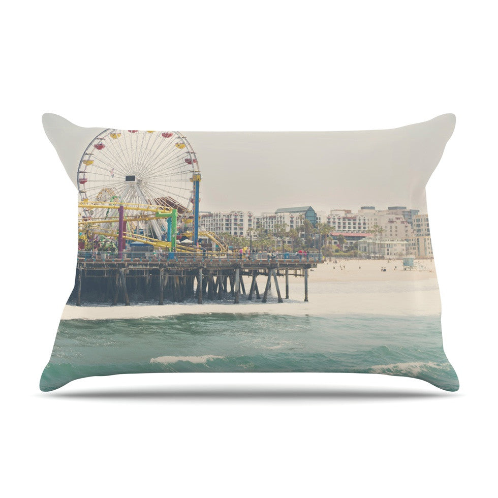 "Laura Evans ""The Pier at Santa Monica"" Coastal Teal Pillow Sham - KESS InHouse"