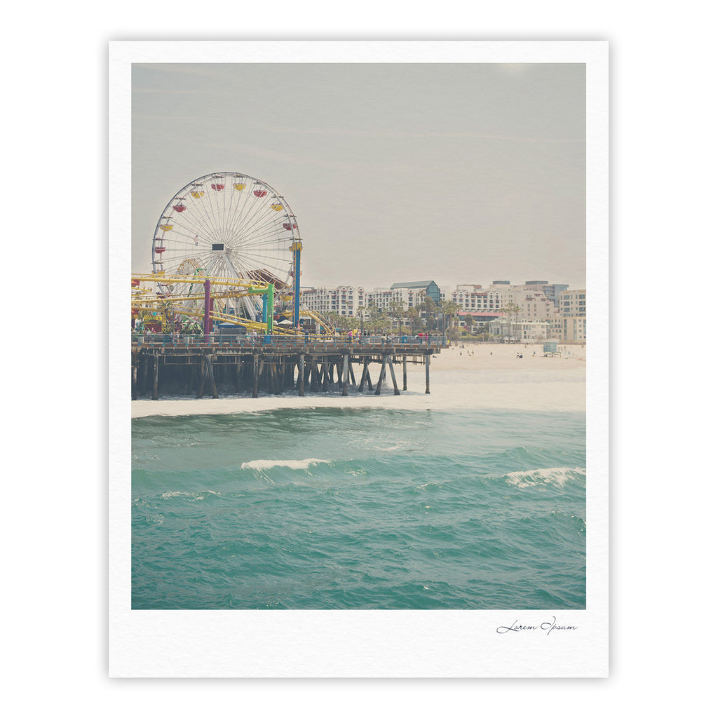 "Laura Evans ""The Pier at Santa Monica"" Coastal Teal Fine Art Gallery Print - KESS InHouse"