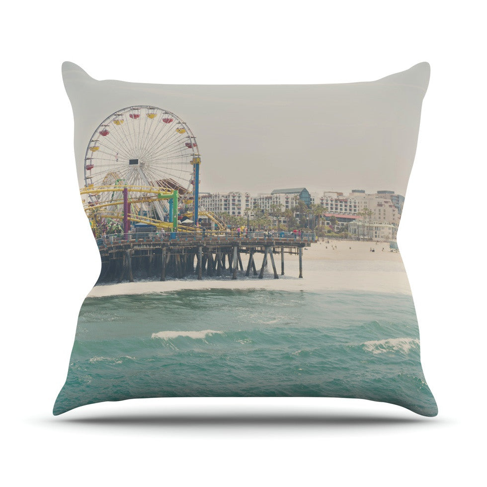 "Laura Evans ""The Pier at Santa Monica"" Coastal Teal Outdoor Throw Pillow - KESS InHouse  - 1"