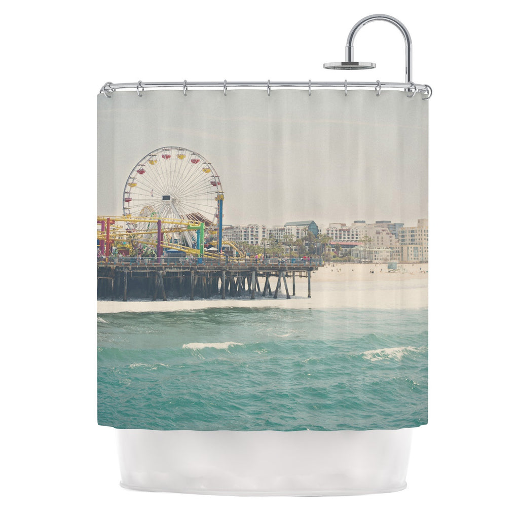 "Laura Evans ""The Pier at Santa Monica"" Coastal Teal Shower Curtain - KESS InHouse"