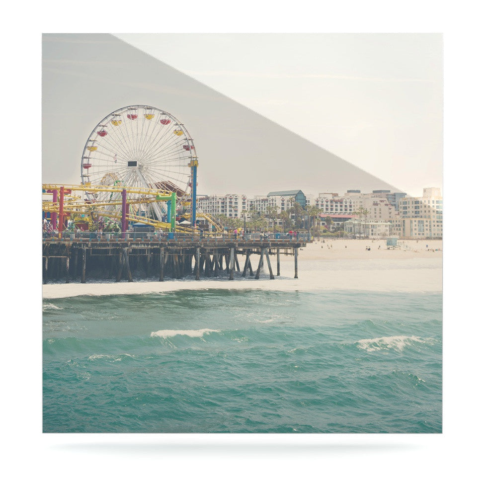 "Laura Evans ""The Pier at Santa Monica"" Coastal Teal Luxe Square Panel - KESS InHouse  - 1"