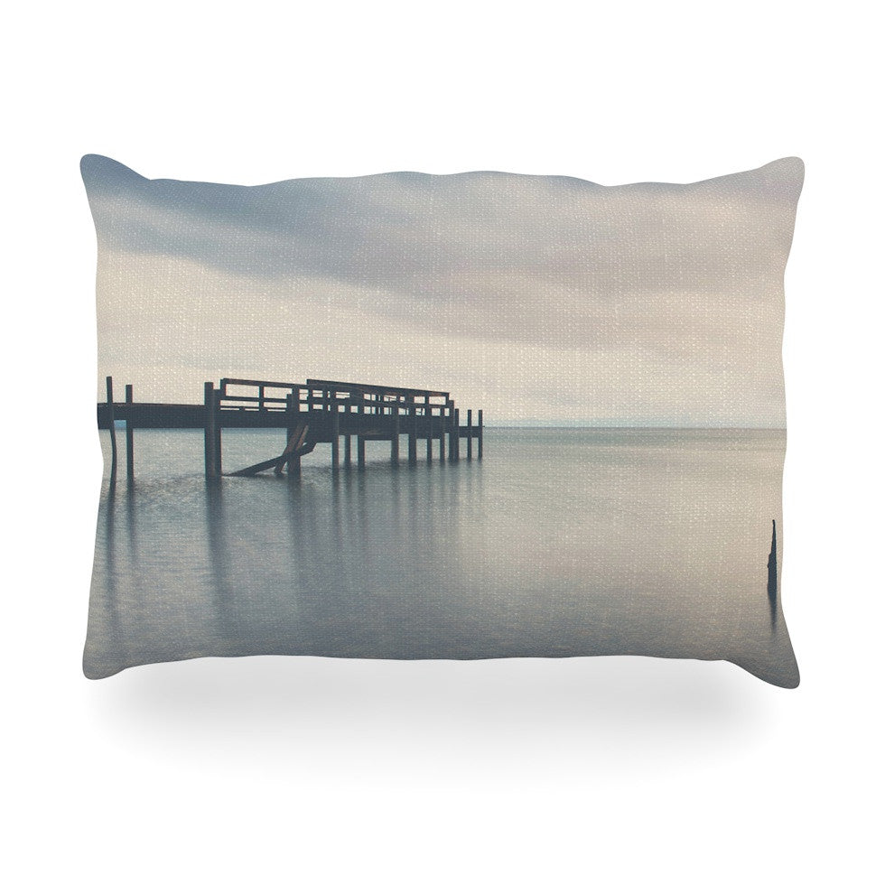 "Laura Evans ""Waiting for the Storm to Pass"" Gray Blue Oblong Pillow - KESS InHouse"