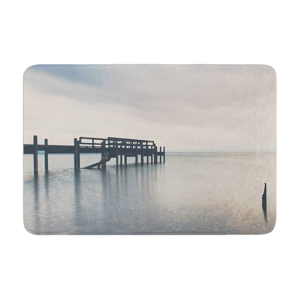 "Laura Evans ""Waiting for the Storm to Pass"" Gray Blue Memory Foam Bath Mat - KESS InHouse"