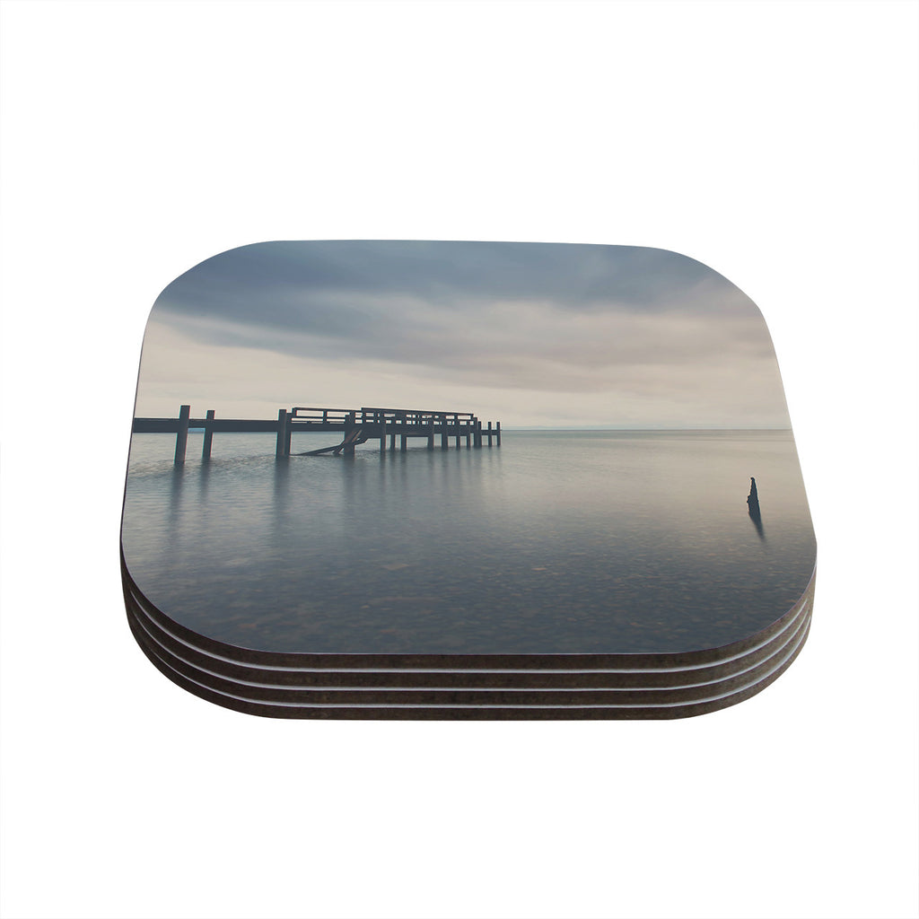 "Laura Evans ""Waiting for the Storm to Pass"" Gray Blue Coasters (Set of 4)"
