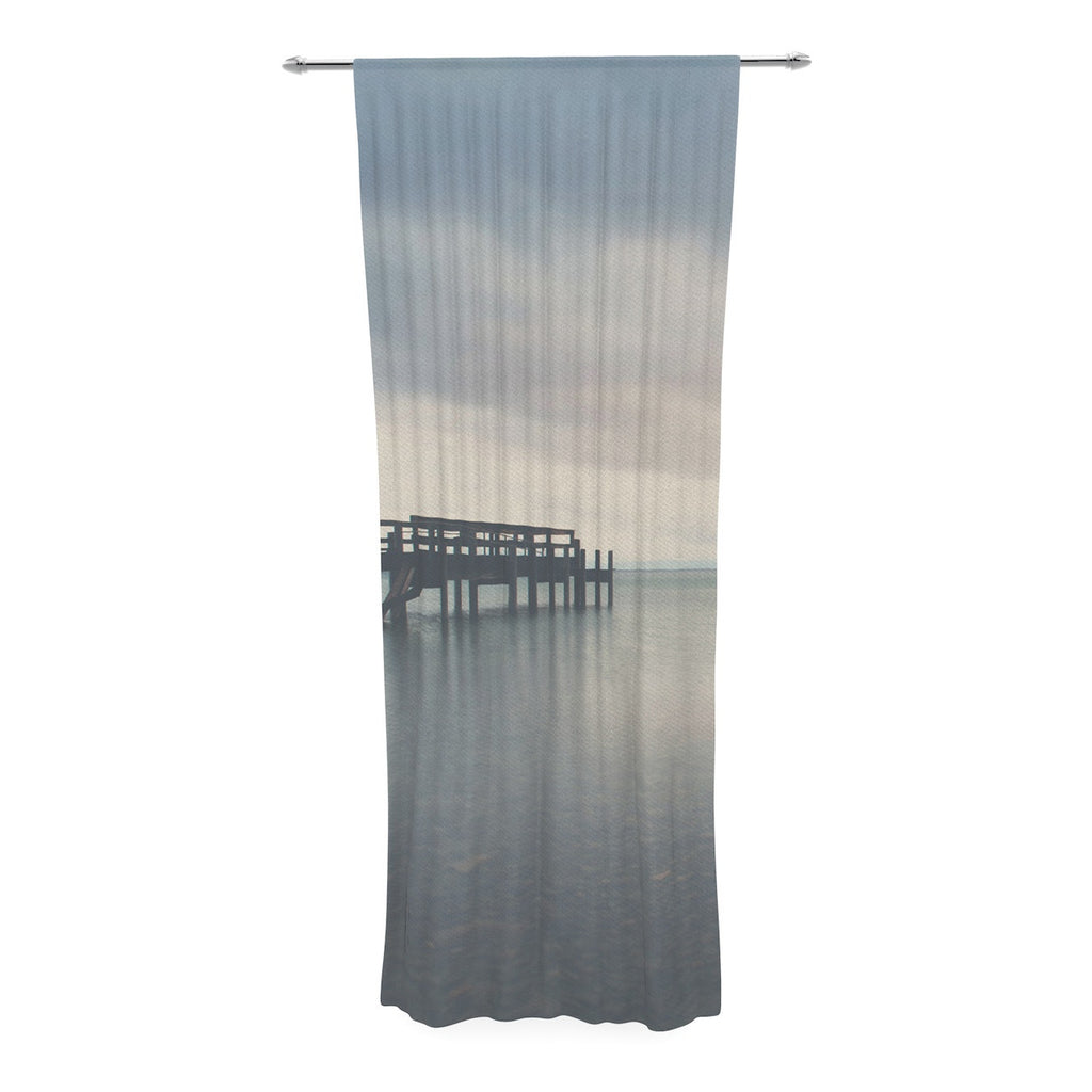 "Laura Evans ""Waiting for the Storm to Pass"" Gray Blue Decorative Sheer Curtain - KESS InHouse  - 1"