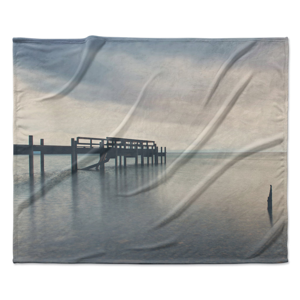"Laura Evans ""Waiting for the Storm to Pass"" Gray Blue Fleece Throw Blanket"
