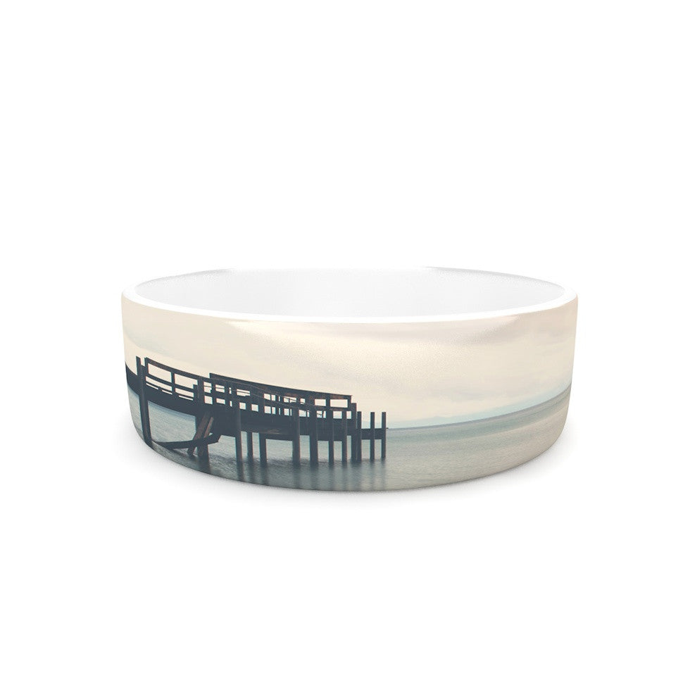 "Laura Evans ""Waiting for the Storm to Pass"" Gray Blue Pet Bowl - KESS InHouse"