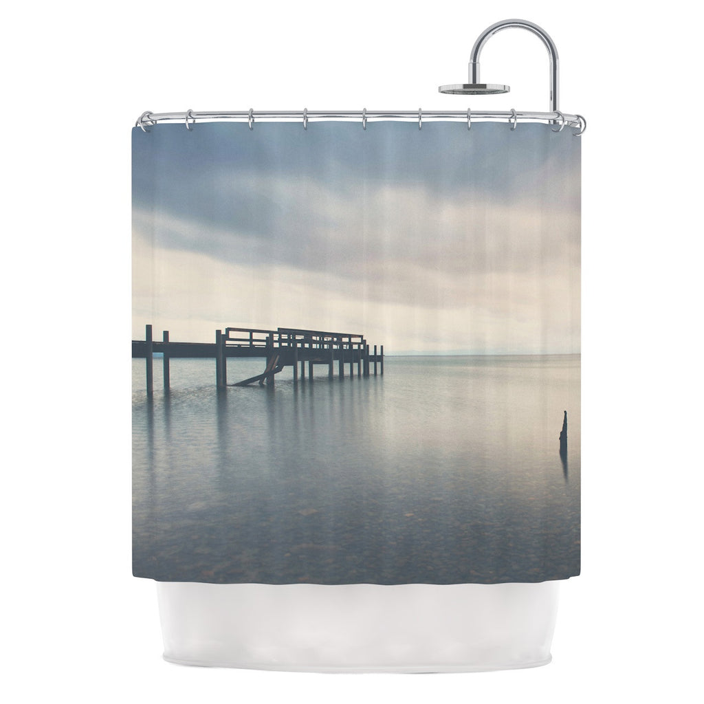 "Laura Evans ""Waiting for the Storm to Pass"" Gray Blue Shower Curtain - KESS InHouse"