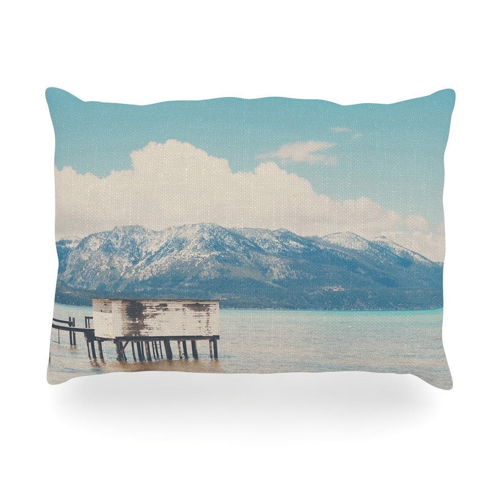"Laura Evans ""Down By The Lake"" Blue Brown Oblong Pillow - KESS InHouse"