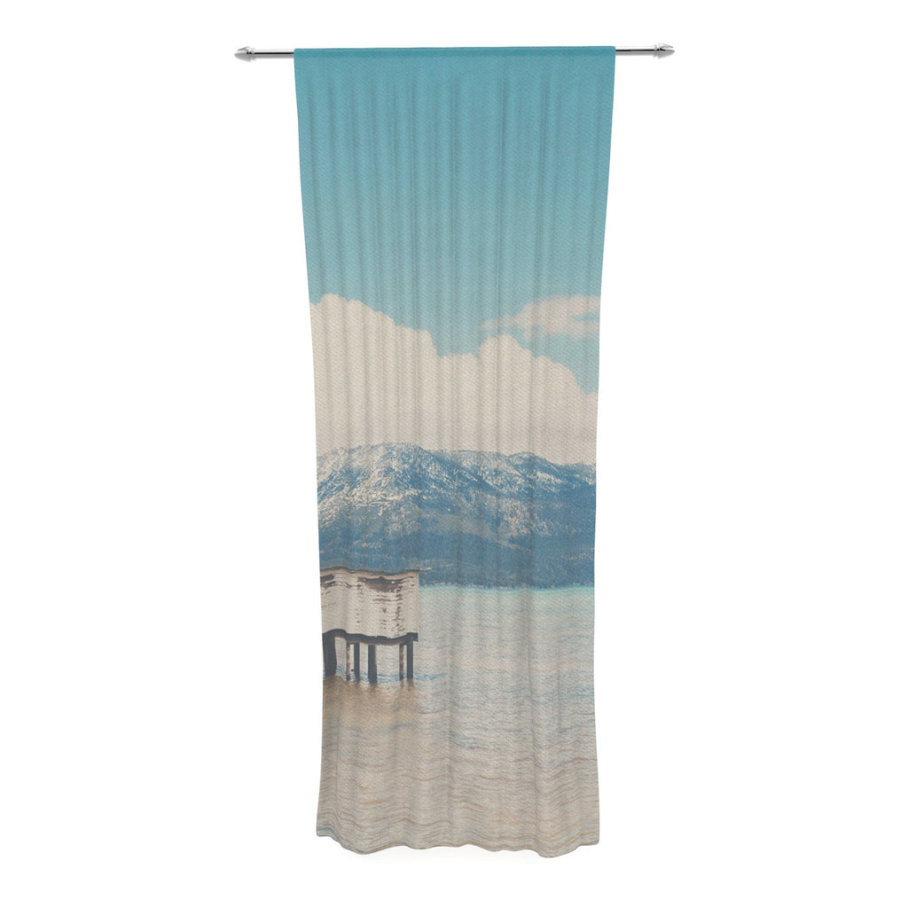 "Laura Evans ""Down By The Lake"" Blue Brown Decorative Sheer Curtain - KESS InHouse  - 1"