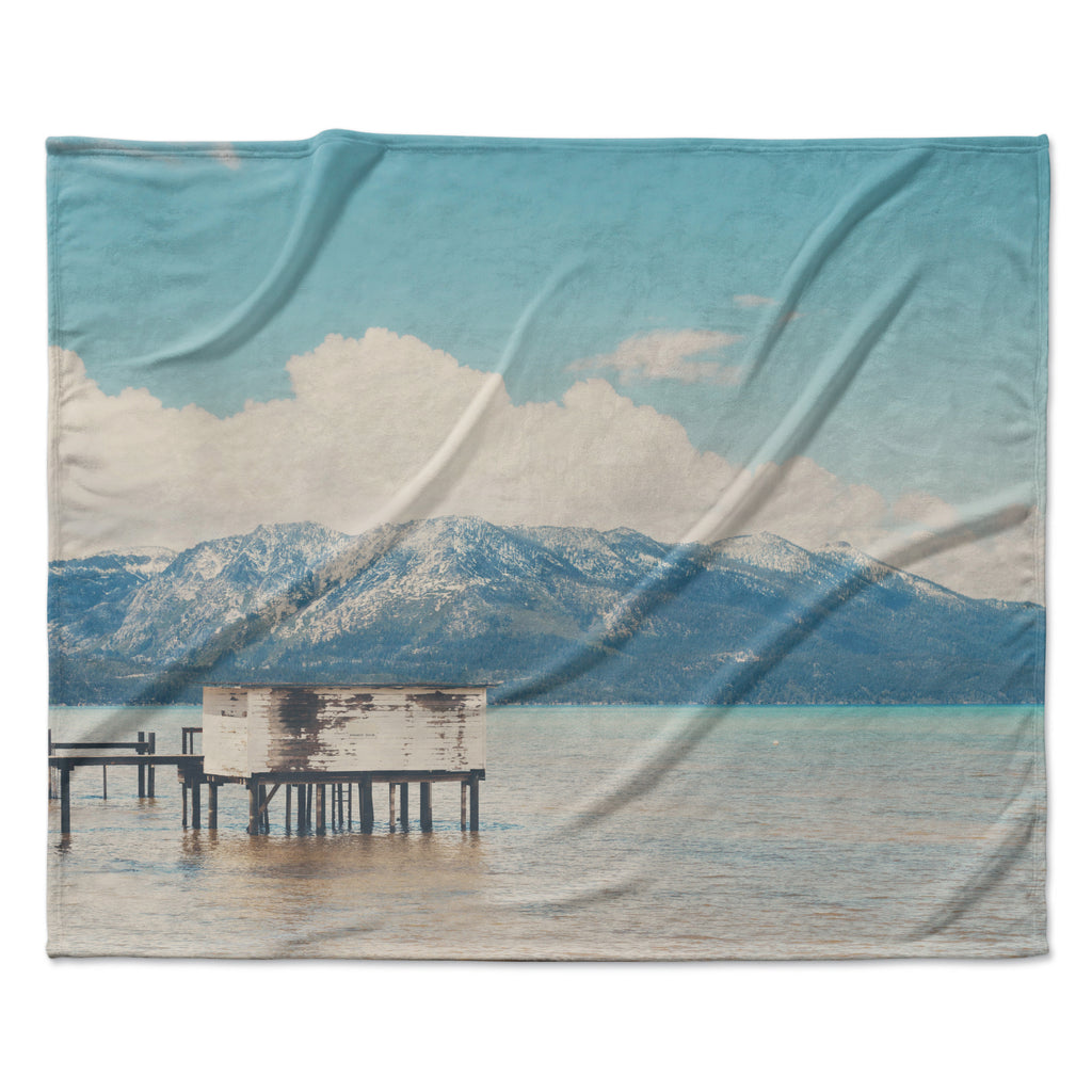 "Laura Evans ""Down By The Lake"" Blue Brown Fleece Throw Blanket"