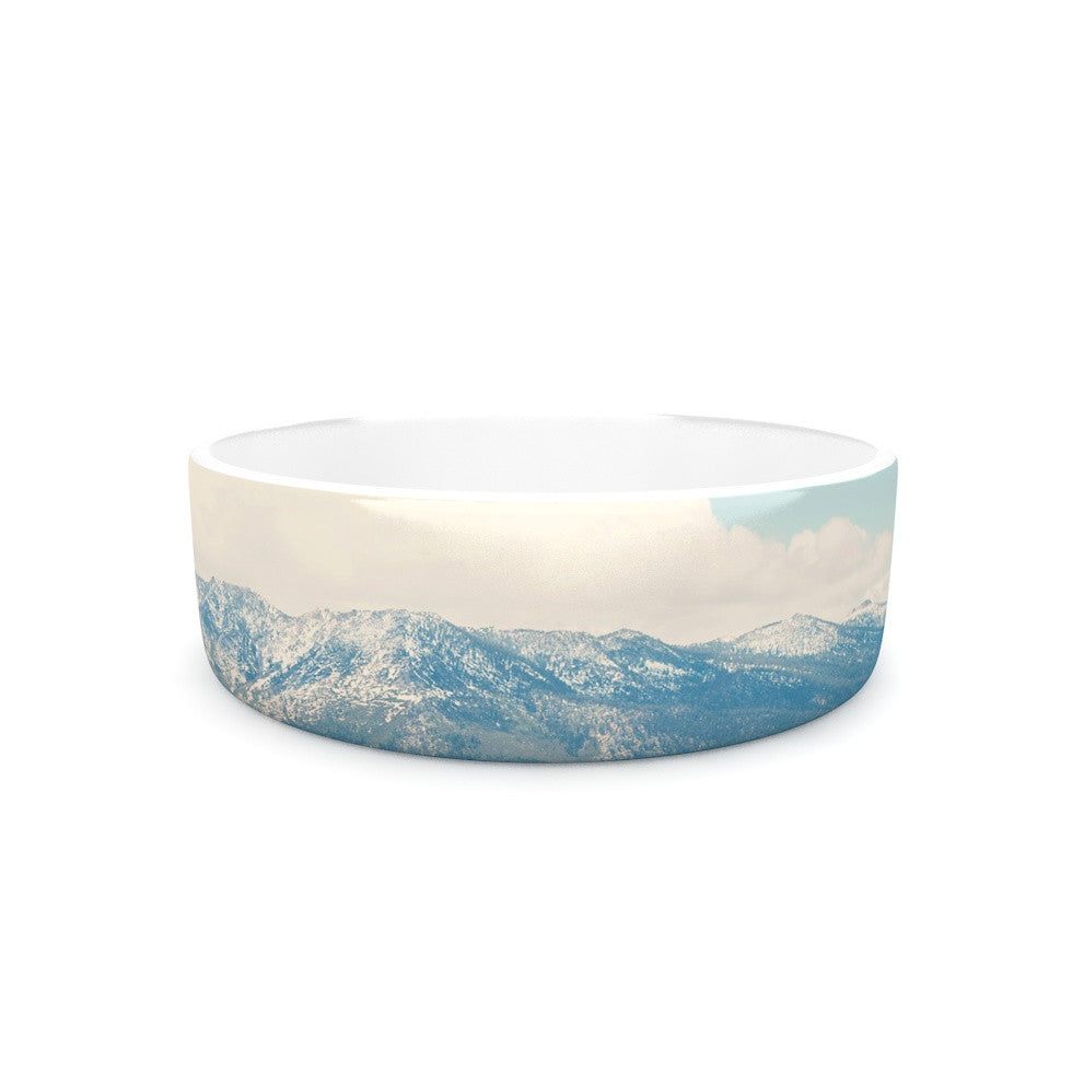 "Laura Evans ""Down By The Lake"" Blue Brown Pet Bowl - KESS InHouse"
