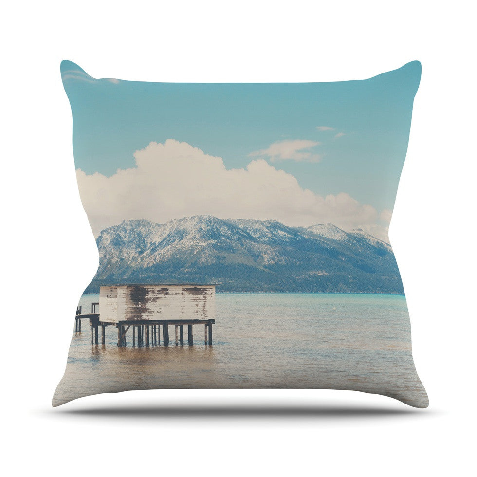 "Laura Evans ""Down By The Lake"" Blue Brown Outdoor Throw Pillow - KESS InHouse  - 1"