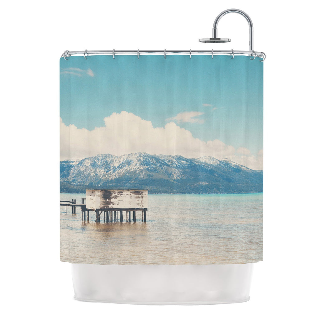 "Laura Evans ""Down By The Lake"" Blue Brown Shower Curtain - KESS InHouse"