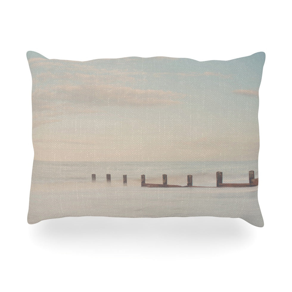"Laura Evans ""The Rising Tide"" Brown Gray Oblong Pillow - KESS InHouse"
