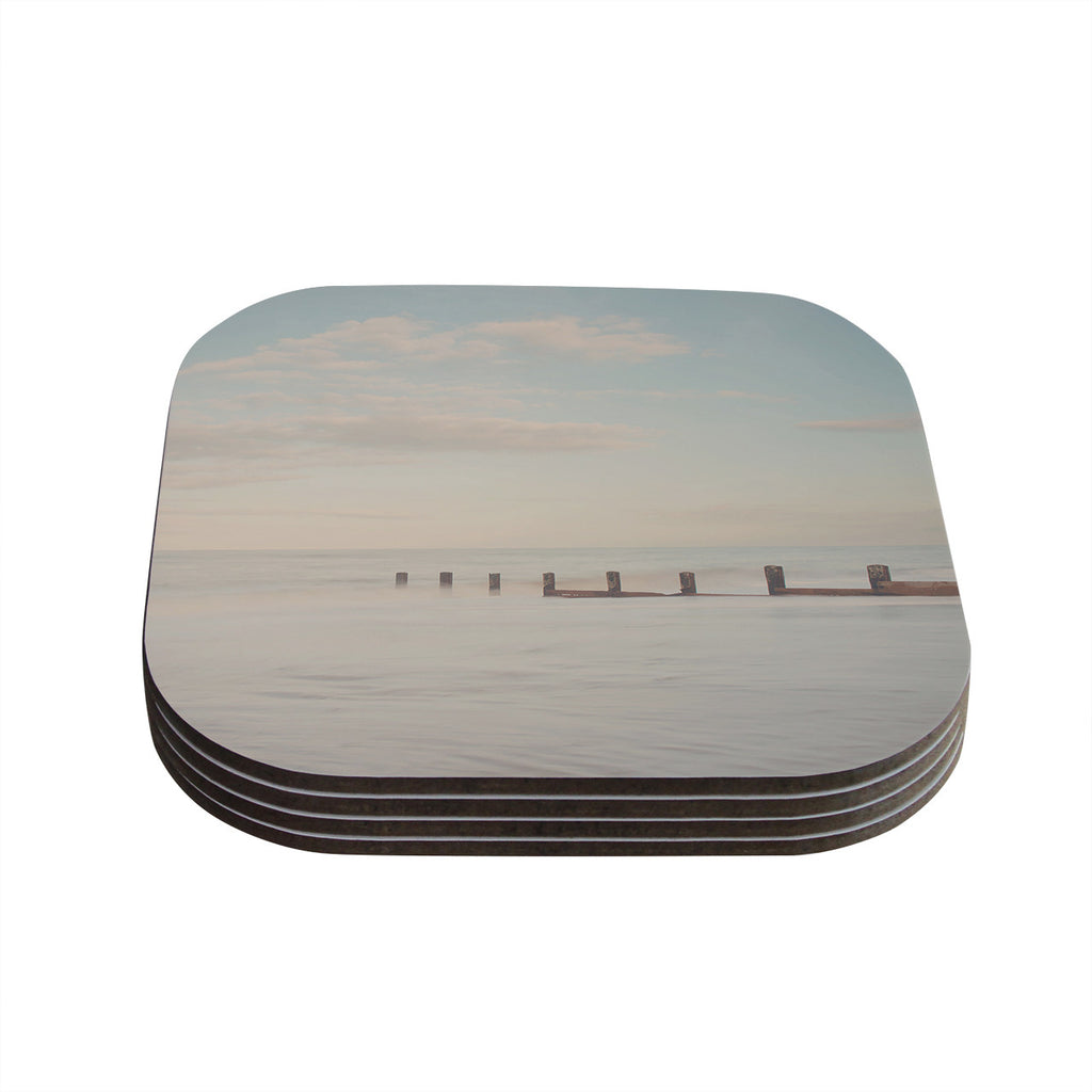 "Laura Evans ""The Rising Tide"" Brown Gray Coasters (Set of 4)"