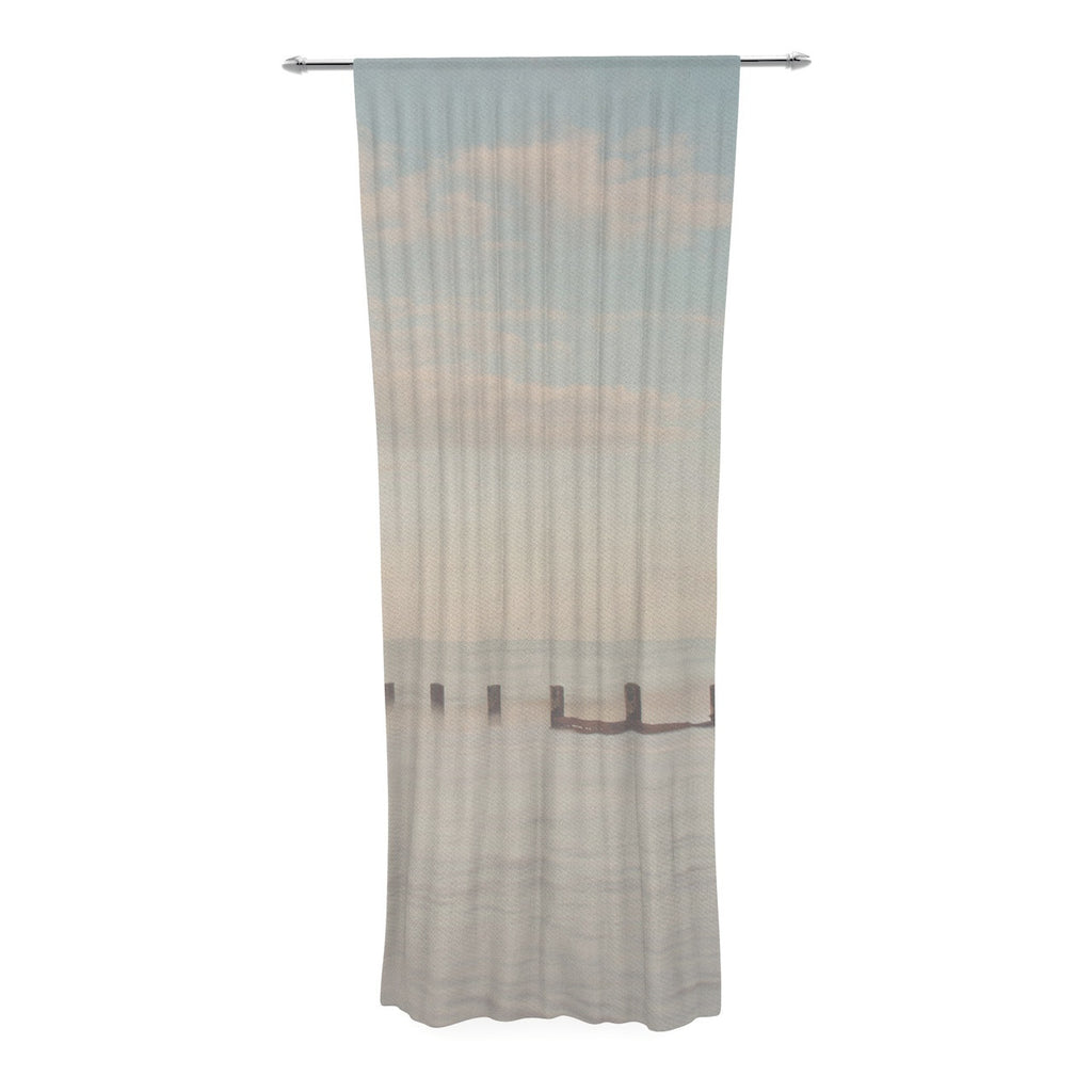 "Laura Evans ""The Rising Tide"" Brown Gray Decorative Sheer Curtain - KESS InHouse  - 1"